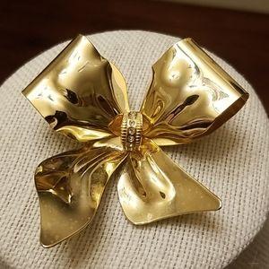 Vintage Golden Bow Brooch